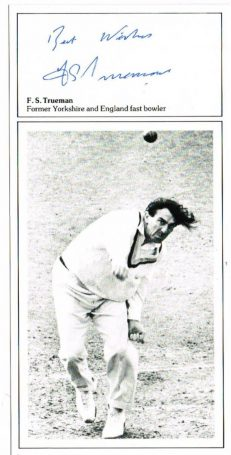 Fred Trueman autograph cricket card autographs for sale