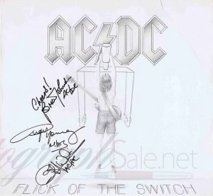 AC/DC Autographs Flick Of The Switch lp | Angus Young and Brian Johnson