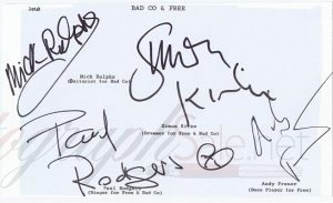 Bad Company and Free Autographs Autographs for sale