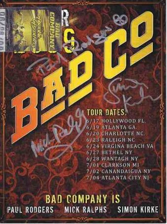 Bad Company autograph poster signed by Paul Rodgers, Mick Ralphes and Simon Kirke