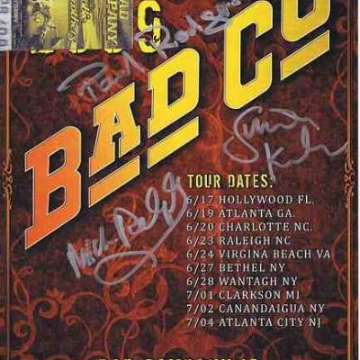 Bad Company autographed poster signed by Paul Rodgers Simon Kirke.