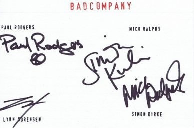 Bad Company autographed card Autographs for sale