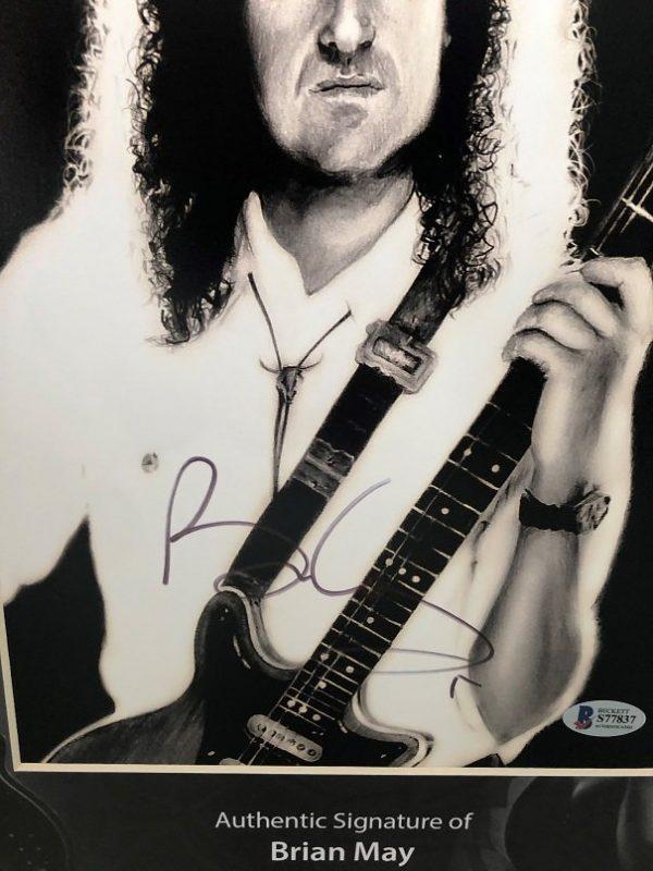 Brian May Queen signed Photo custom display 16×20″ Beckett COA