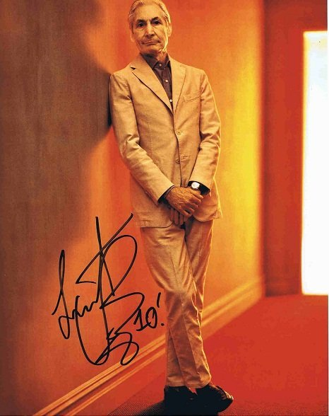 Charlie Watts Autographed colour photo | The Rolling Stones