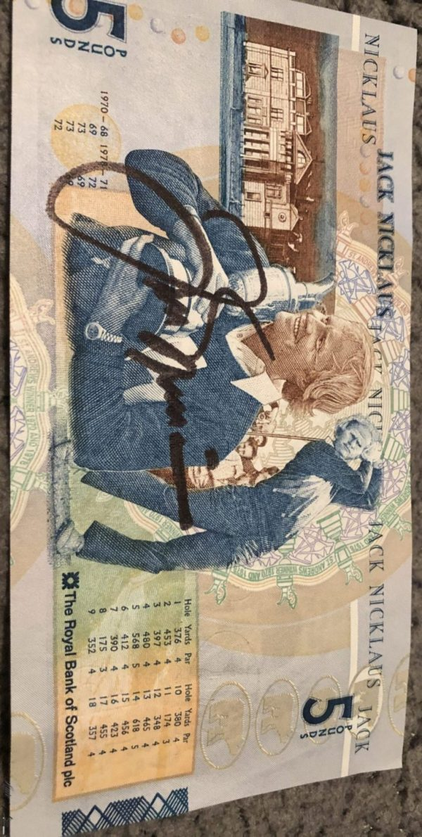 Jack Nicklaus Signed £5 Scottish rare note Authentic Autograph