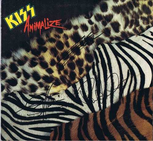 Kiss Autographs Animalize Lp - Paul Stanley, Gene Simmons and Eric Carr