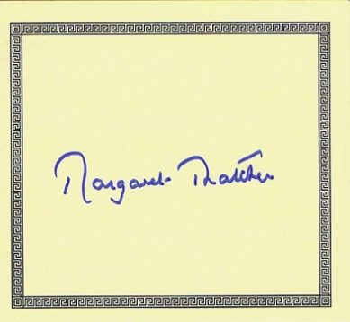 Margaret Thatcher autographed bookplate