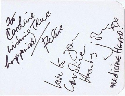 Medicine Head autographs by Peter Hope-Evans and John Fiddler