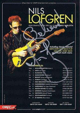 Nils Lofgren autograph concert flyer