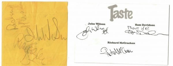 Rory Gallagher and Taste Autographs