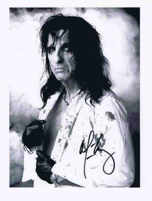 Alice Cooper autograph photo 8×10 black and white