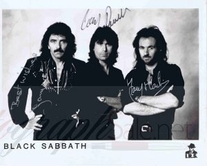 Black Sabbath Autographed photo. Tony Iommi, Cozy Powell and Tony Martin
