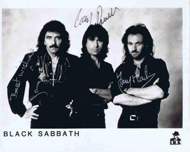 Black Sabbath Autographed photo. Tony Iommi, Cozy Powell and Tony Martin