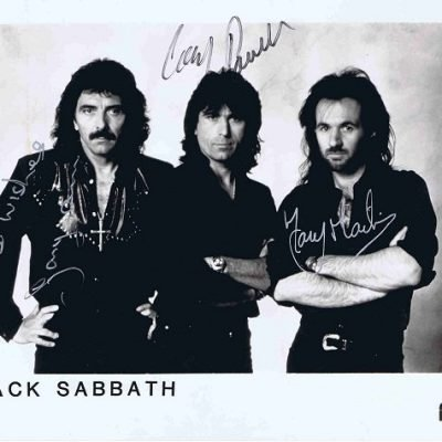 Black Sabbath Autographed photo – Iommi, Powell, Martin