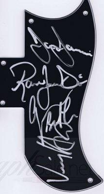Black Sabbath autographs pickguard by Heaven & Hell
