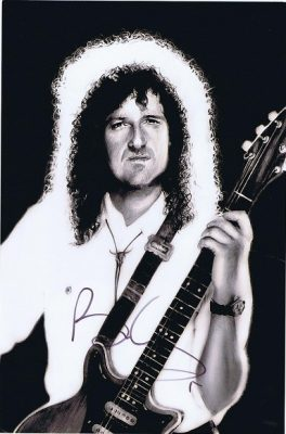 Brian May Queen Autographed photograph 12x8. Black and white photo from Innuendo. Queen autographs for sale