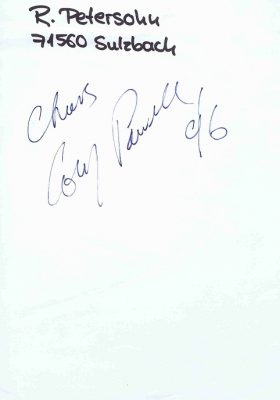 Cozy Powell Autographed page dated 1996