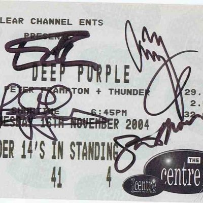 Jimmy Page Deep Purple Autographs concert ticket