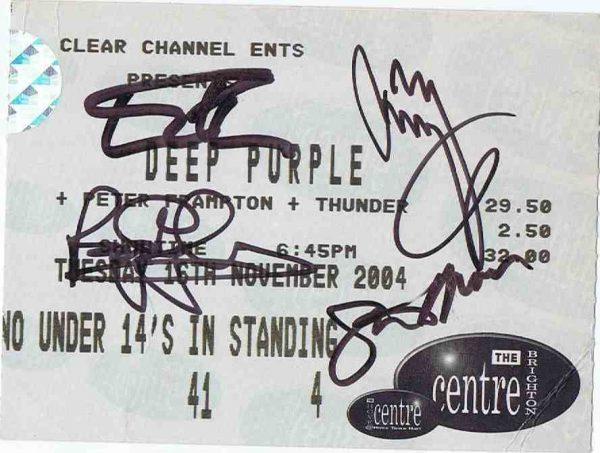 Jimmy Page Deep Purple Autographs concert ticket