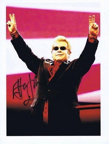 Elton John autographed 8x10 colour photo in black marker