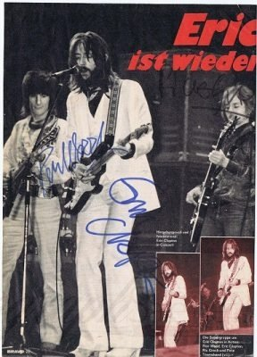 Eric Clapton, Ronnie Wood, Ric Grech autograph magazine