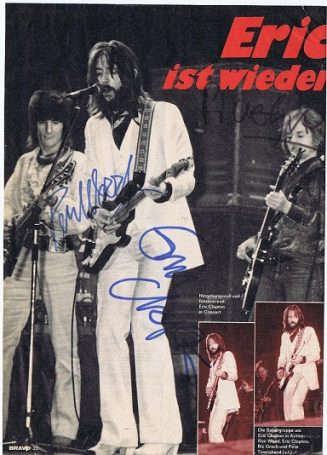 Eric Clapton, Ronnie Wood, Ric Grech autographed magazine