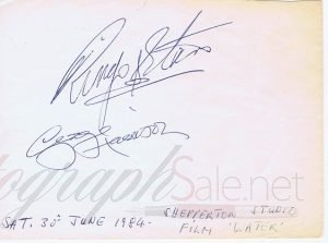George Harrison Ringo Starr Autographs from 1984 The Beatles