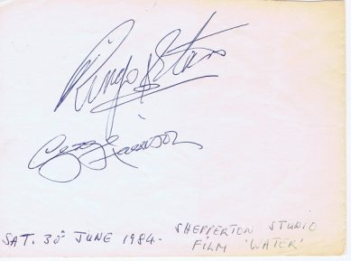 George Harrison & Ringo Starr Autographs from 1984 The Beatles