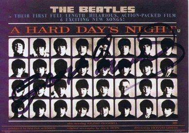George Martin Autographed - The Beatles A Hard Days Night postcard