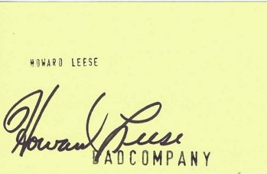 Howard Leese Autograph Bad Company - AutographSale UACC bad company Autographs for sale