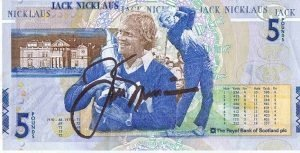 Jack Nicklaus hand signed RARE Scottish Golf £5 note – Sports Autographs