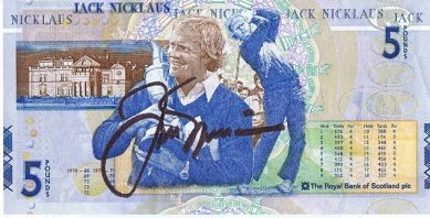 Jack Nicklaus hand signed RARE Scottish Golf £5 note