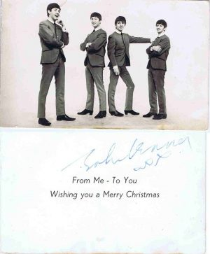 John Lennon The Beatles Autographed Christmas Card