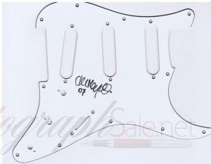 John Mayall autographed Fender Stratocaster style pickguard.
