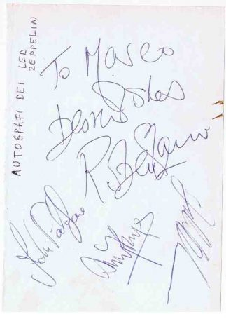Led Zeppelin Autographs Jimmy Page, John Bonham, Robert Plant, John Paul Jones