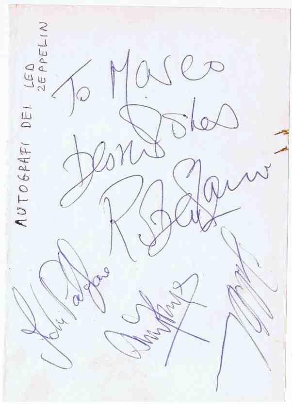 Led Zeppelin Autographs for sale
