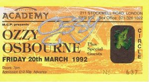 Ozzy Osbourne Autographed Concert Ticket – Black Sabbath Autographs