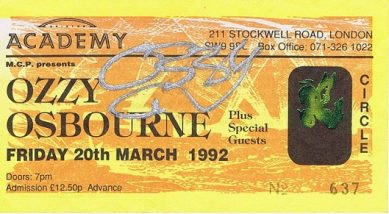 Ozzy Osbourne Autographed Concert Ticket - Black Sabbath Autographs