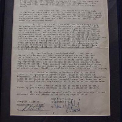 Ringo Starr signed document The Beatles using his real name R.Starkey