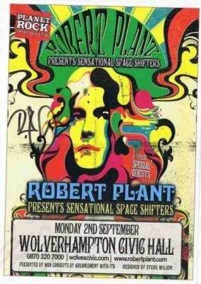 Robert Plant Led Zeppelin Autographed Flyer