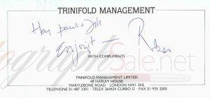 Robert Plant Autograph note Led Zeppelin