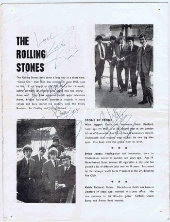 The Rolling Stones signed programme 1965 autograph Mick Jagger, Keith Richards, Brian Jones, Bill Wyman, Charlie Watts