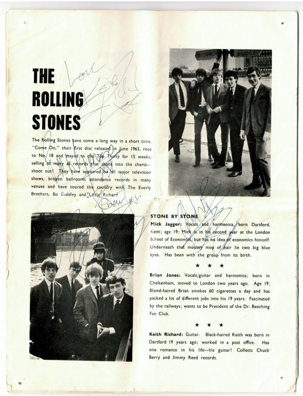 The Rolling Stones signed tour programme 1964 autographs
