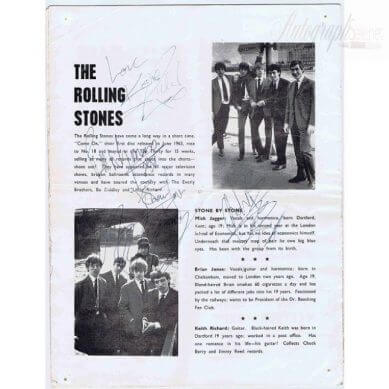 The Rolling Stones Autograph programme fully signed