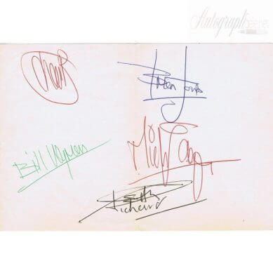 The Rolling Stones fully signed autographed page - Autographs for sale