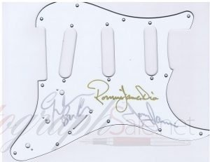 Black Sabbath Autographs Pickguard Tony Iommi, Ronnie James Dio and Geezer Butler.