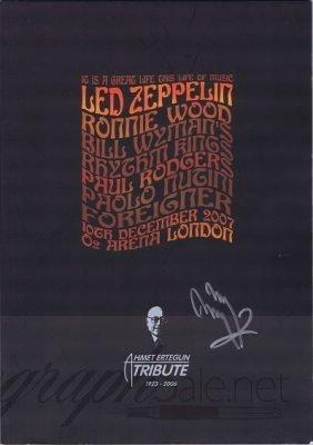 Jimmy Page Autograph Led Zeppelin Ahmet Ertegun Programme 2007 programme