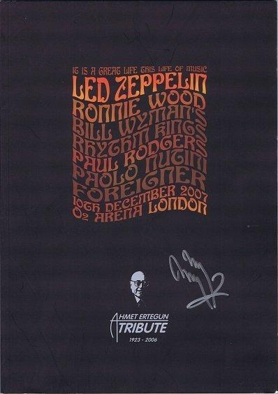 Jimmy Page Autograph Ahmet Ertegun Program 2007 Led Zeppelin