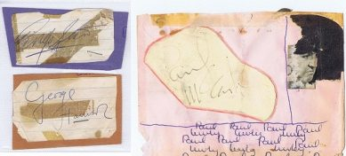the beatles autographs for sale george harrison paul mccartney ringo starr