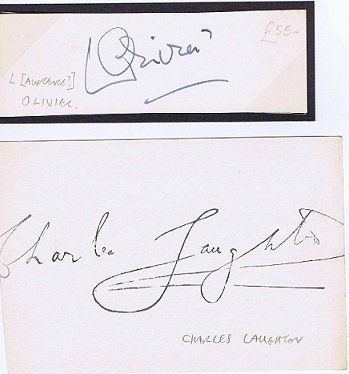 Laurence Olivier and Charles Laughton Autographs